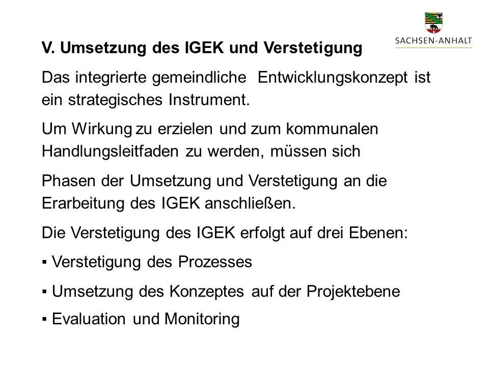 V. Umsetzung des IGEK und Verstetigung Das integrierte gemeindliche Entwicklungskonzept ist ein strategisches Instrument. Um Wirkung zu erzielen und z