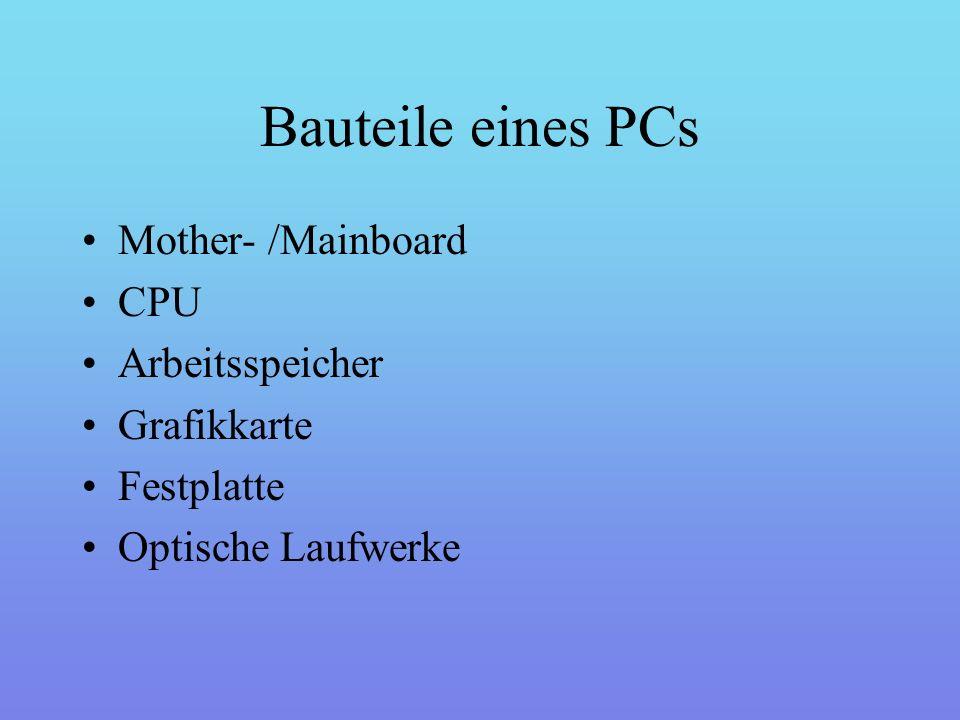 Mother- /Mainboard Das Main- oder auch Motherboard ist das Hauptteil in einem PC.