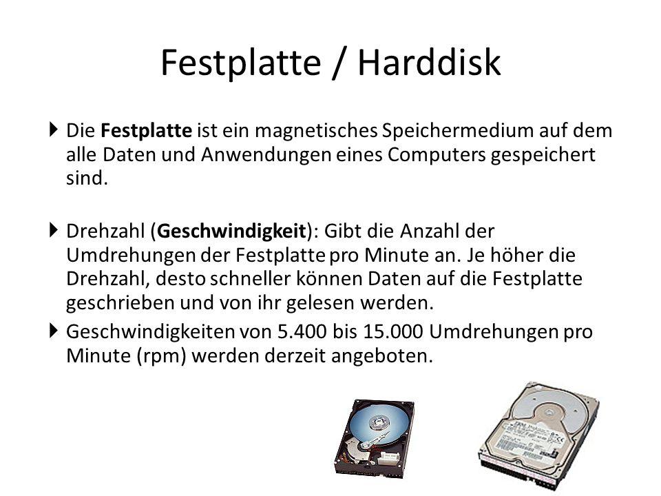 Festplatte / Harddisk  Die Festplatte ist ein magnetisches Speichermedium auf dem alle Daten und Anwendungen eines Computers gespeichert sind.  Dreh