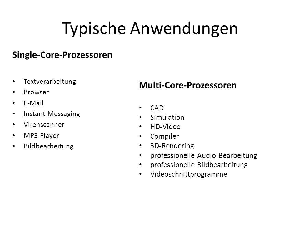 Typische Anwendungen Single-Core-Prozessoren Textverarbeitung Browser E-Mail Instant-Messaging Virenscanner MP3-Player Bildbearbeitung Multi-Core-Proz