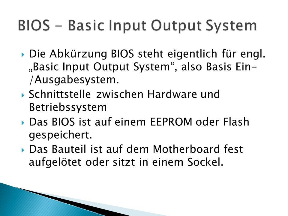  Die Abkürzung BIOS steht eigentlich für engl.