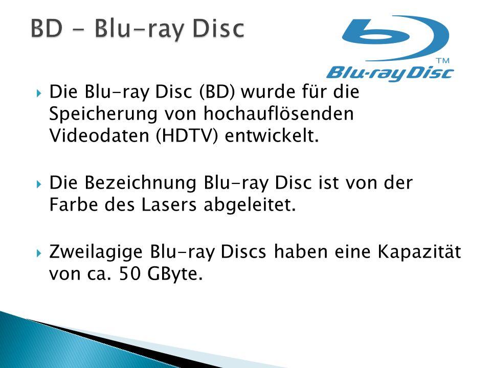  Die Blu-ray Disc (BD) wurde für die Speicherung von hochauflösenden Videodaten (HDTV) entwickelt.