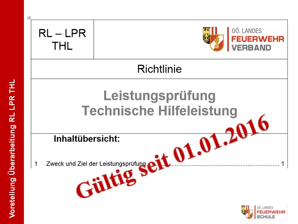 Vorstellung Überarbeitung RL LPR THL