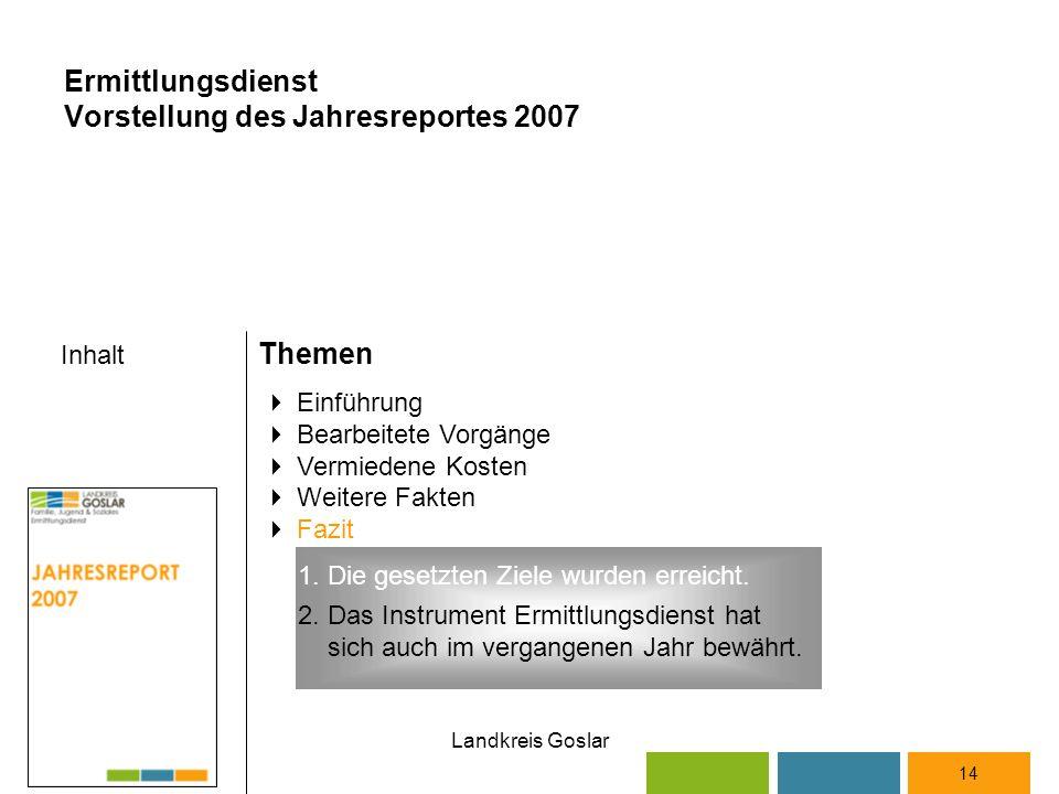 Landkreis Goslar Inhalt Themen 14  Einführung  Bearbeitete Vorgänge  Vermiedene Kosten  Weitere Fakten  Fazit Ermittlungsdienst Vorstellung des Jahresreportes 2007 2.