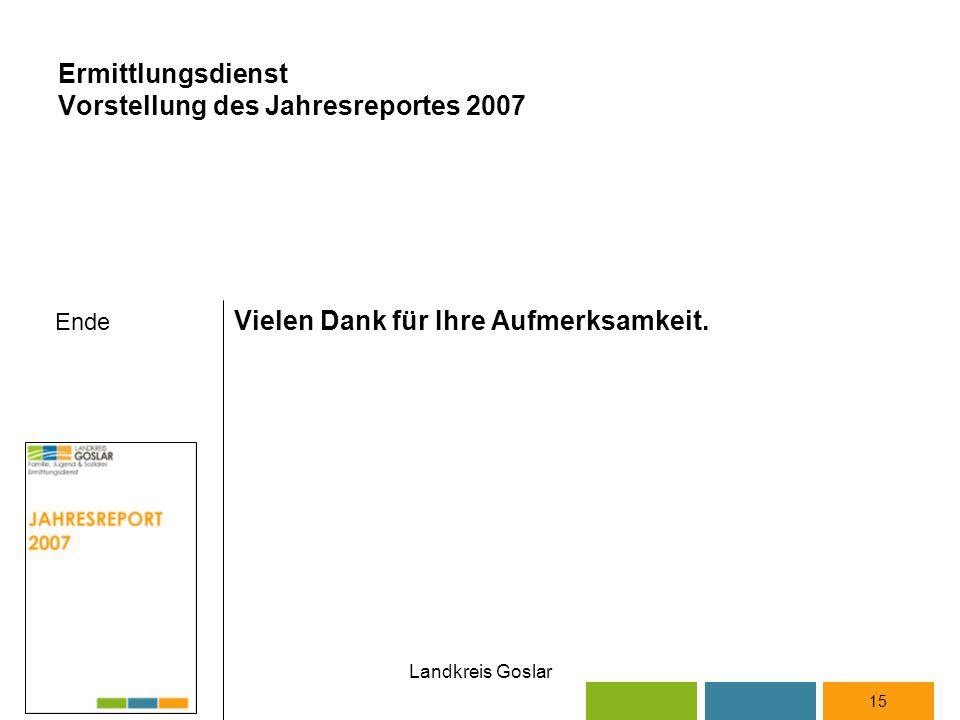 Landkreis Goslar Ende Vielen Dank für Ihre Aufmerksamkeit. 15 Ermittlungsdienst Vorstellung des Jahresreportes 2007