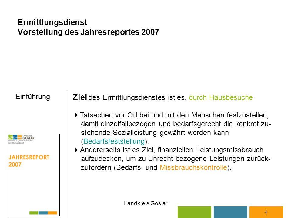 Landkreis Goslar 4 Ziel des Ermittlungsdienstes ist es, durch Hausbesuche  Tatsachen vor Ort bei und mit den Menschen festzustellen, damit einzelfallbezogen und bedarfsgerecht die konkret zu- stehende Sozialleistung gewährt werden kann (Bedarfsfeststellung).