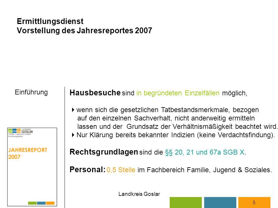 Landkreis Goslar 5 Hausbesuche sind in begründeten Einzelfällen möglich,  wenn sich die gesetzlichen Tatbestandsmerkmale, bezogen auf den einzelnen Sachverhalt, nicht anderweitig ermitteln lassen und der Grundsatz der Verhältnismäßigkeit beachtet wird.