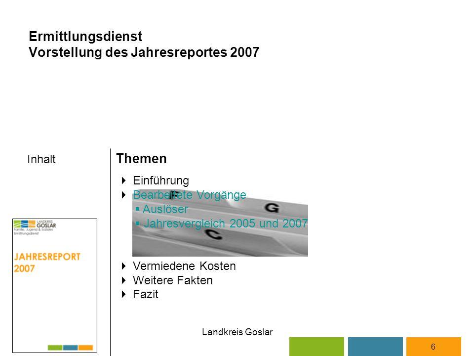 Landkreis Goslar Inhalt Themen 6  Einführung  Bearbeitete Vorgänge  Auslöser  Jahresvergleich 2005 und 2007  Vermiedene Kosten  Weitere Fakten  Fazit Ermittlungsdienst Vorstellung des Jahresreportes 2007
