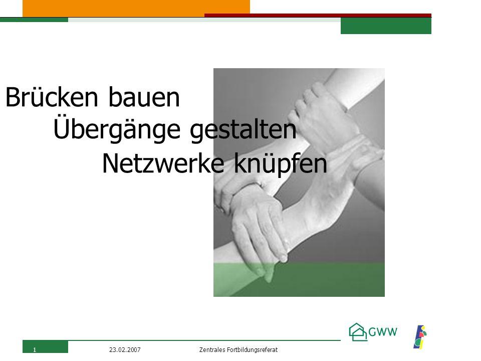 Zentrales Fortbildungsreferat23.02.20071 Übergänge gestalten Brücken bauen Netzwerke knüpfen