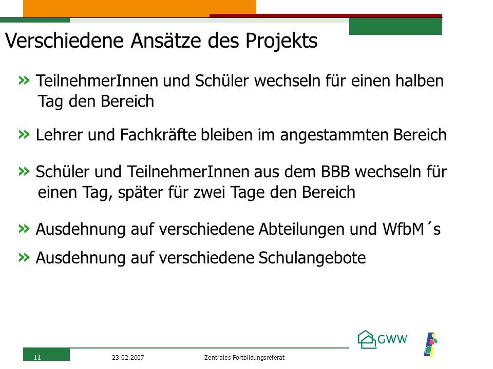 Zentrales Fortbildungsreferat23.02.200711 Verschiedene Ansätze des Projekts » TeilnehmerInnen und Schüler wechseln für einen halben Tag den Bereich »