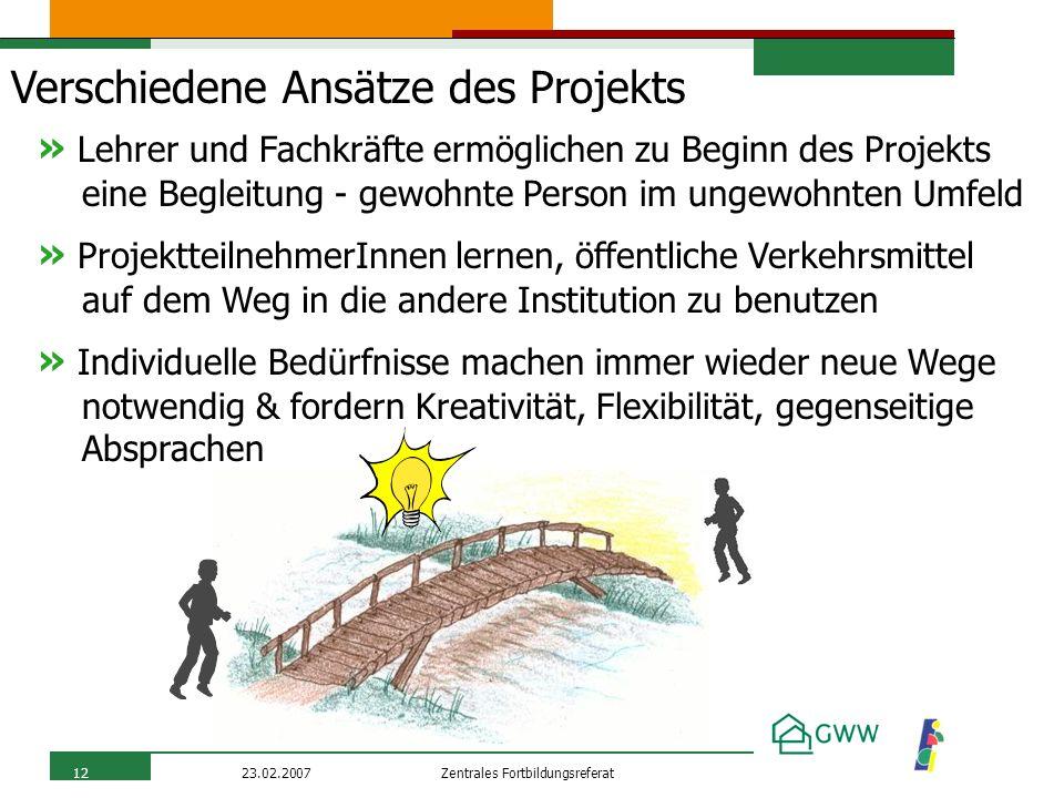 Zentrales Fortbildungsreferat23.02.200712 Verschiedene Ansätze des Projekts » ProjektteilnehmerInnen lernen, öffentliche Verkehrsmittel auf dem Weg in