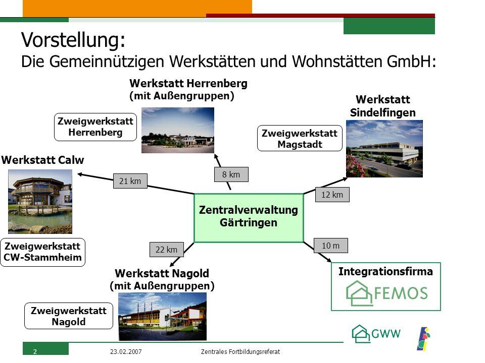 Zentrales Fortbildungsreferat23.02.20072 Vorstellung: Die Gemeinnützigen Werkstätten und Wohnstätten GmbH: Werkstatt Calw Zweigwerkstatt CW-Stammheim
