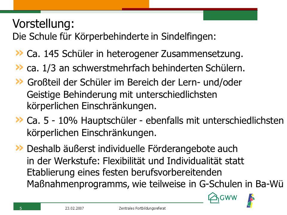 Zentrales Fortbildungsreferat23.02.20075 Vorstellung: Die Schule für Körperbehinderte in Sindelfingen: » Ca. 145 Schüler in heterogener Zusammensetzun