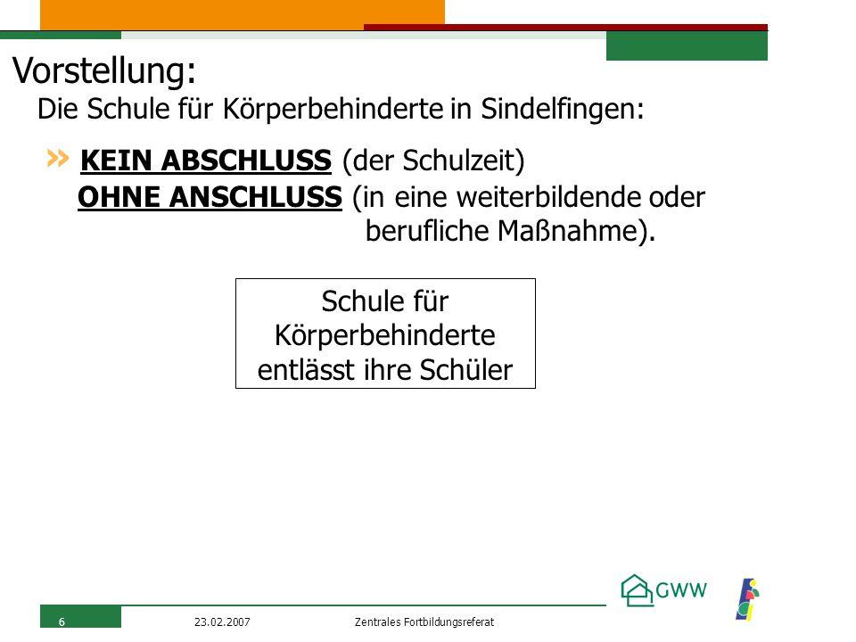 Zentrales Fortbildungsreferat23.02.20076 Vorstellung: Die Schule für Körperbehinderte in Sindelfingen: » KEIN ABSCHLUSS (der Schulzeit) OHNE ANSCHLUSS (in eine weiterbildende oder berufliche Maßnahme).