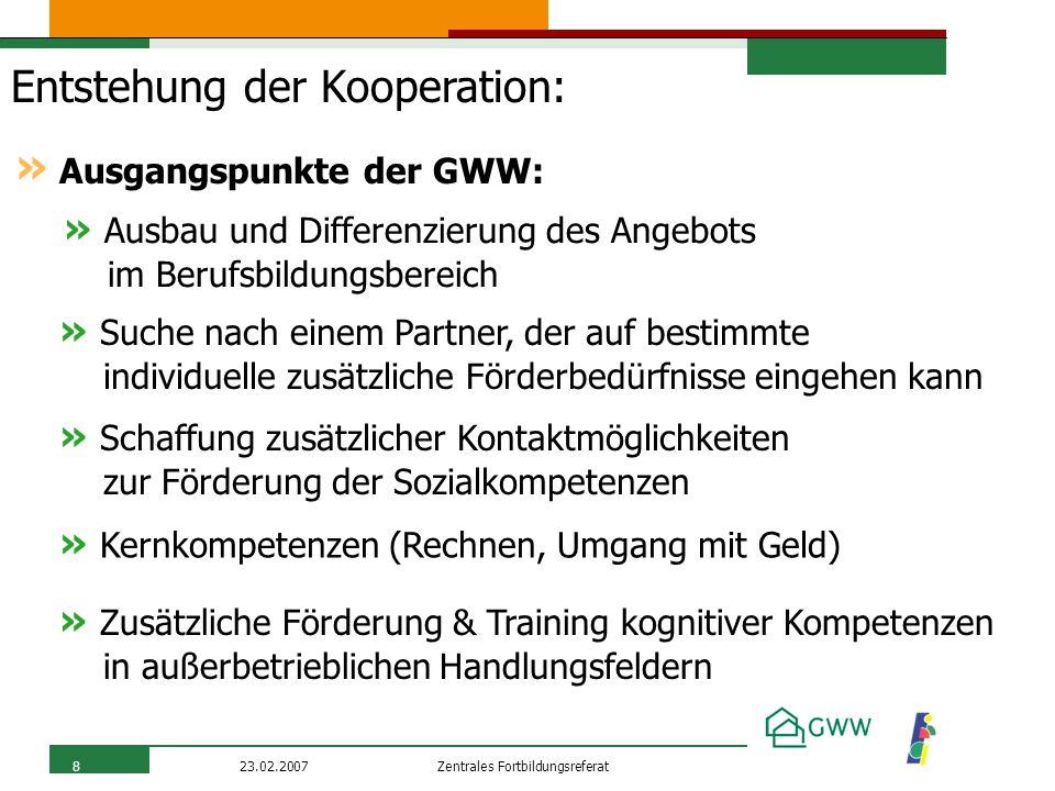 Zentrales Fortbildungsreferat23.02.20078 Entstehung der Kooperation: » Ausgangspunkte der GWW: » Ausbau und Differenzierung des Angebots im Berufsbild