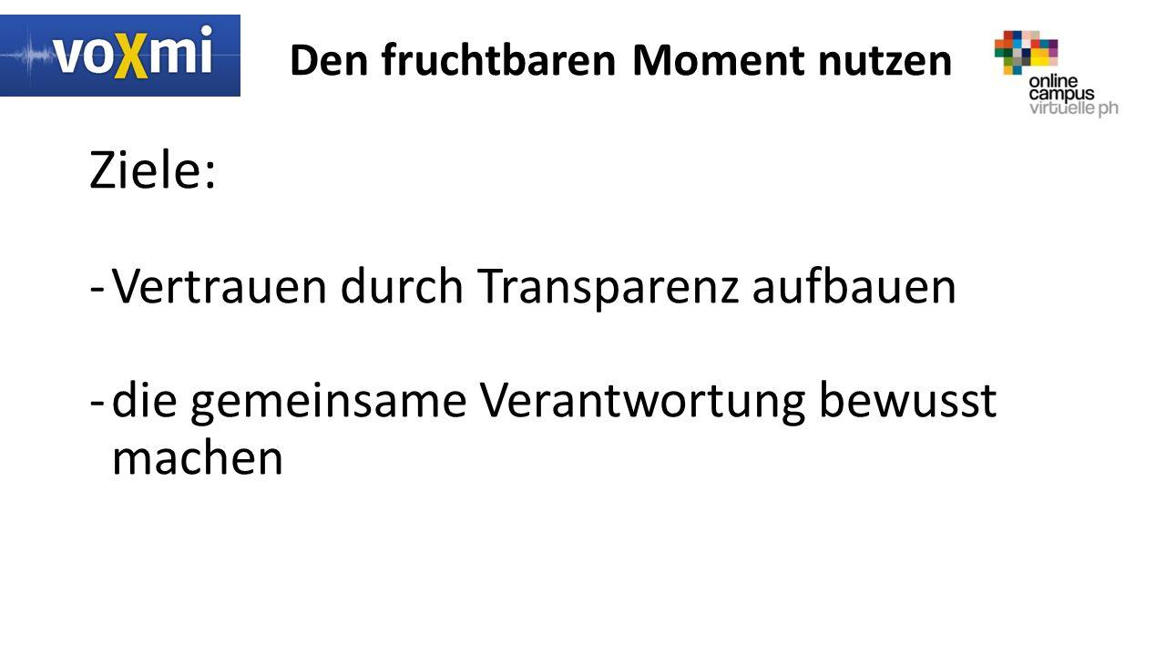 Den fruchtbaren Moment nutzen Ziele: -Vertrauen durch Transparenz aufbauen -die gemeinsame Verantwortung bewusst machen