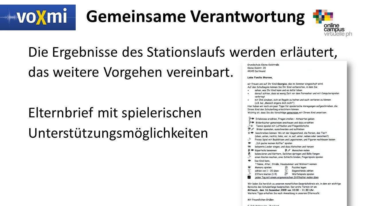 Gemeinsame Verantwortung Die Ergebnisse des Stationslaufs werden erläutert, das weitere Vorgehen vereinbart.