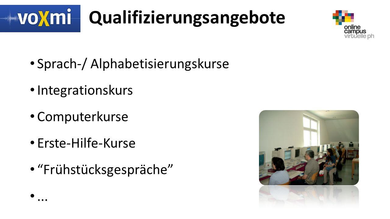 Qualifizierungsangebote Sprach-/ Alphabetisierungskurse Integrationskurs Computerkurse Erste-Hilfe-Kurse Frühstücksgespräche ...