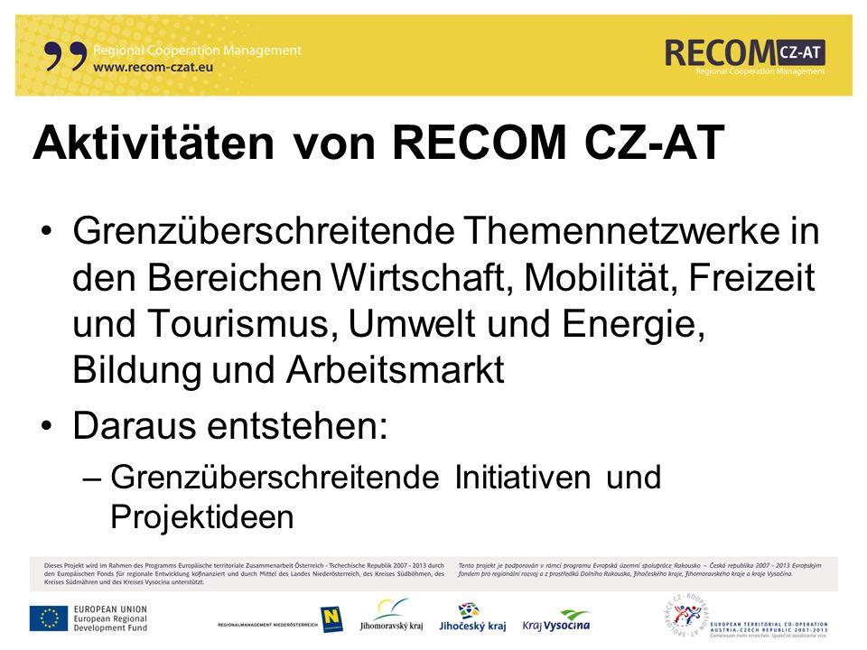 Aktivitäten von RECOM CZ-AT Grenzüberschreitende Themennetzwerke in den Bereichen Wirtschaft, Mobilität, Freizeit und Tourismus, Umwelt und Energie, Bildung und Arbeitsmarkt Daraus entstehen: –Grenzüberschreitende Initiativen und Projektideen
