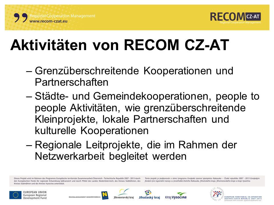Aktivitäten von RECOM CZ-AT –Grenzüberschreitende Kooperationen und Partnerschaften –Städte- und Gemeindekooperationen, people to people Aktivitäten, wie grenzüberschreitende Kleinprojekte, lokale Partnerschaften und kulturelle Kooperationen –Regionale Leitprojekte, die im Rahmen der Netzwerkarbeit begleitet werden
