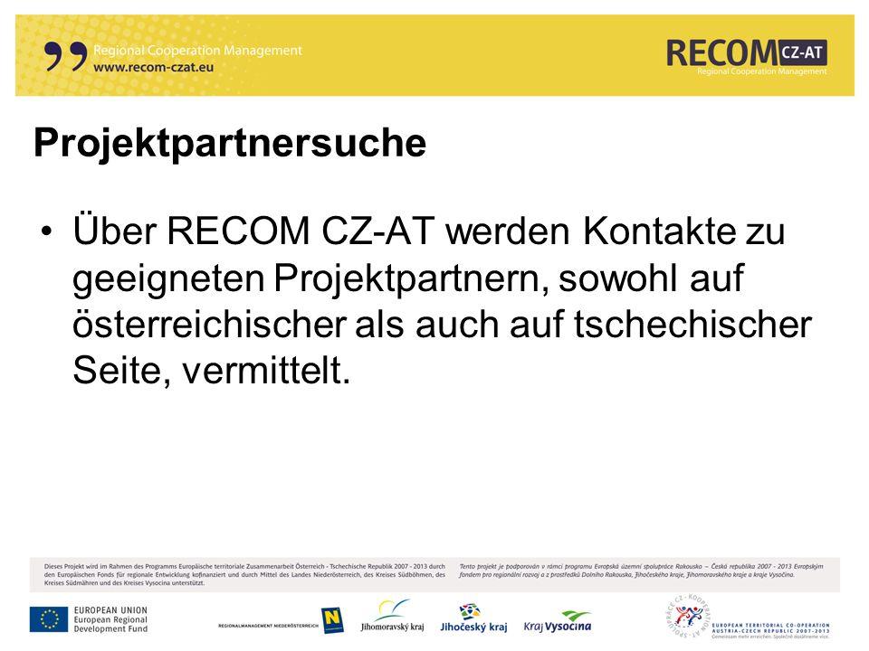 Über RECOM CZ-AT werden Kontakte zu geeigneten Projektpartnern, sowohl auf österreichischer als auch auf tschechischer Seite, vermittelt.