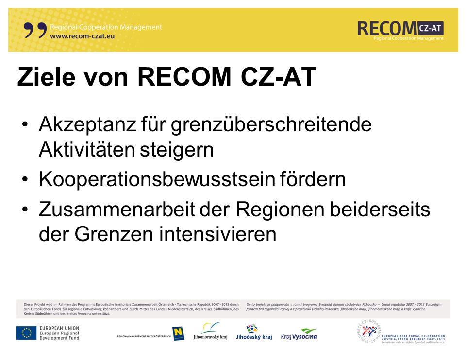 Ziele von RECOM CZ-AT Akzeptanz für grenzüberschreitende Aktivitäten steigern Kooperationsbewusstsein fördern Zusammenarbeit der Regionen beiderseits der Grenzen intensivieren