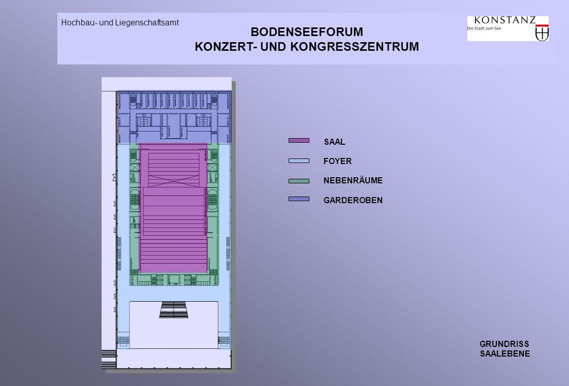 BODENSEEFORUM KONZERT- UND KONGRESSZENTRUM Hochbau- und Liegenschaftsamt GRUNDRISS SAALEBENE SAAL FOYER NEBENRÄUME GARDEROBEN