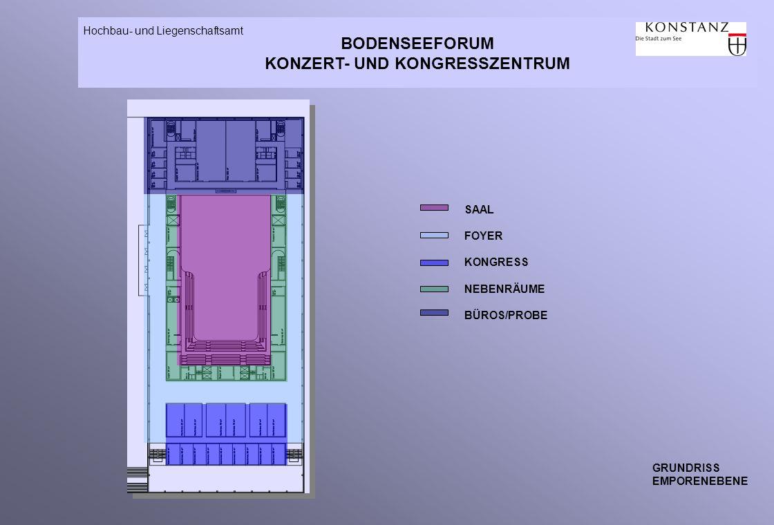 BODENSEEFORUM KONZERT- UND KONGRESSZENTRUM Hochbau- und Liegenschaftsamt GRUNDRISS EMPORENEBENE SAAL FOYER KONGRESS NEBENRÄUME BÜROS/PROBE