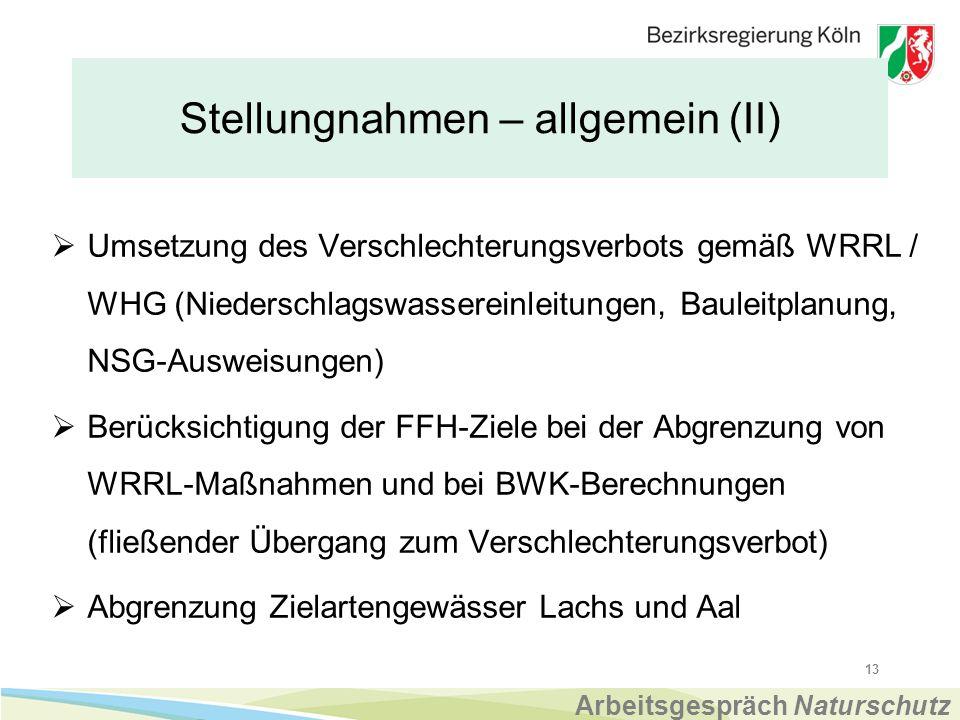 Stellungnahmen – allgemein (II)  Umsetzung des Verschlechterungsverbots gemäß WRRL / WHG (Niederschlagswassereinleitungen, Bauleitplanung, NSG-Ausweisungen)  Berücksichtigung der FFH-Ziele bei der Abgrenzung von WRRL-Maßnahmen und bei BWK-Berechnungen (fließender Übergang zum Verschlechterungsverbot)  Abgrenzung Zielartengewässer Lachs und Aal 13 Arbeitsgespräch Naturschutz