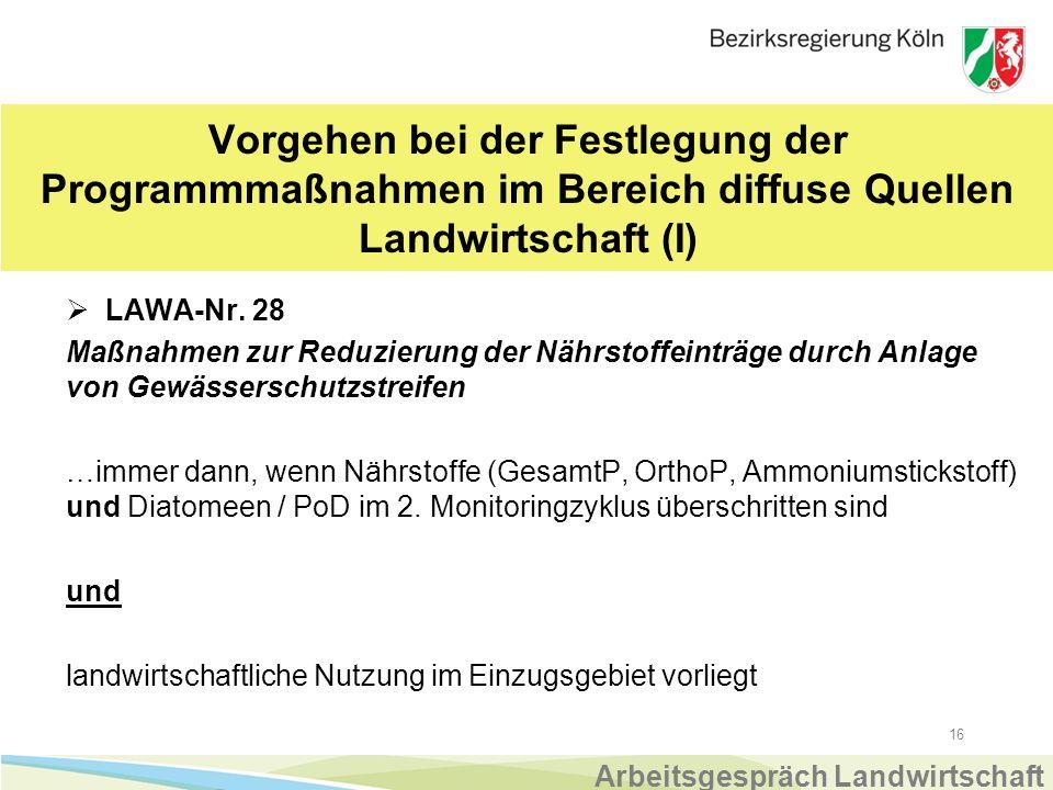 16 Vorgehen bei der Festlegung der Programmmaßnahmen im Bereich diffuse Quellen Landwirtschaft (I)  LAWA-Nr.