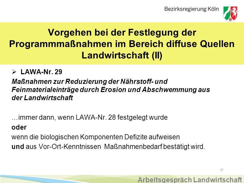17 Vorgehen bei der Festlegung der Programmmaßnahmen im Bereich diffuse Quellen Landwirtschaft (II)  LAWA-Nr.