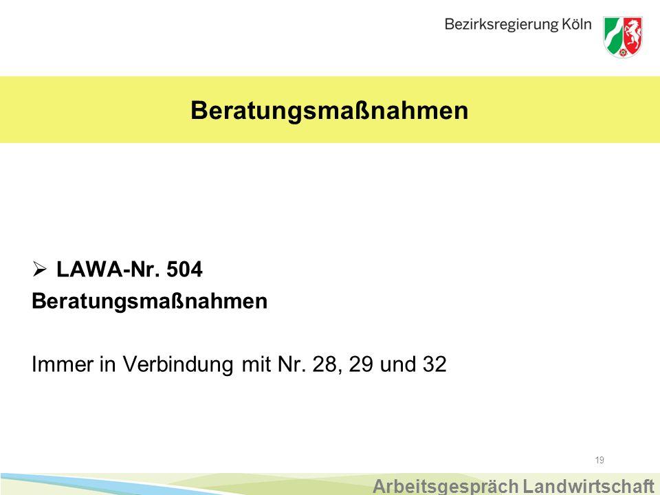 19 Beratungsmaßnahmen  LAWA-Nr.504 Beratungsmaßnahmen Immer in Verbindung mit Nr.