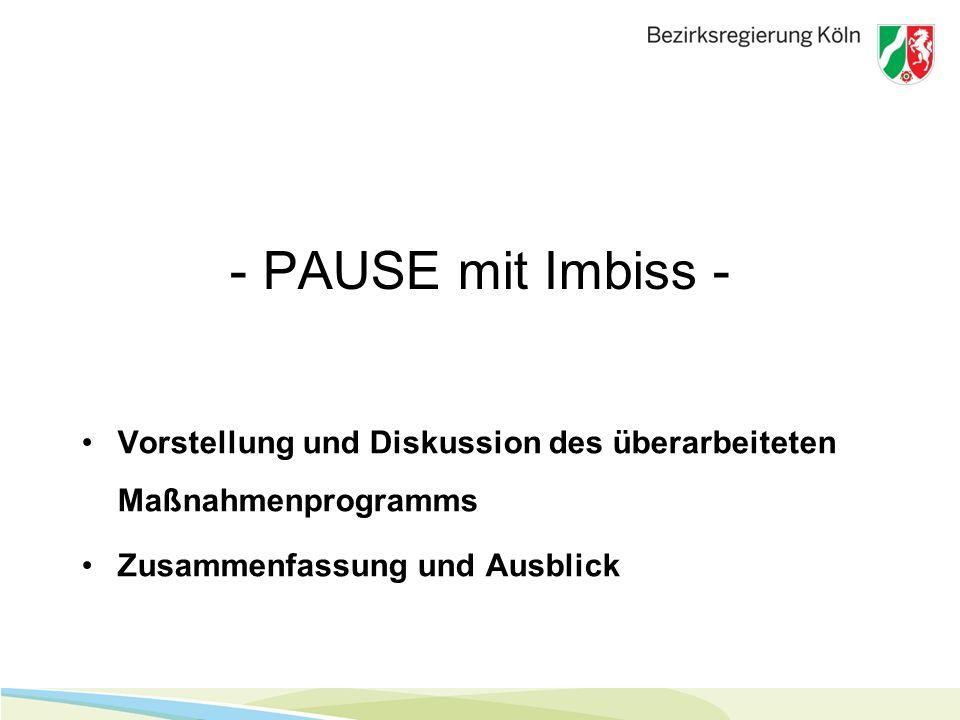 - PAUSE mit Imbiss - Vorstellung und Diskussion des überarbeiteten Maßnahmenprogramms Zusammenfassung und Ausblick