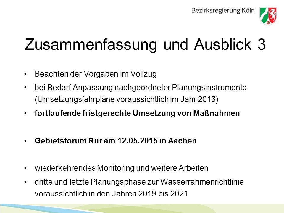 Zusammenfassung und Ausblick 3 Beachten der Vorgaben im Vollzug bei Bedarf Anpassung nachgeordneter Planungsinstrumente (Umsetzungsfahrpläne voraussichtlich im Jahr 2016) fortlaufende fristgerechte Umsetzung von Maßnahmen Gebietsforum Rur am 12.05.2015 in Aachen wiederkehrendes Monitoring und weitere Arbeiten dritte und letzte Planungsphase zur Wasserrahmenrichtlinie voraussichtlich in den Jahren 2019 bis 2021