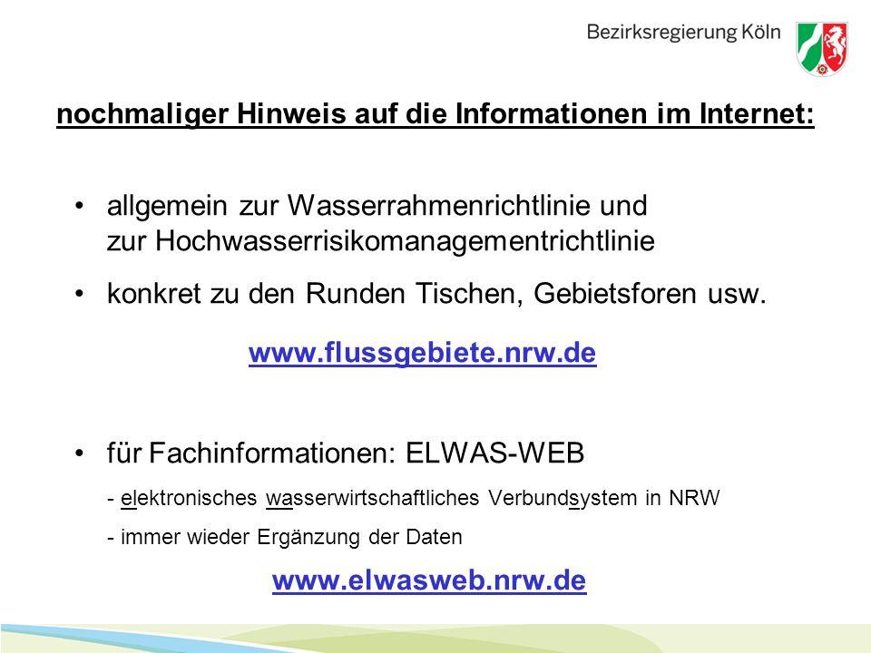 nochmaliger Hinweis auf die Informationen im Internet: allgemein zur Wasserrahmenrichtlinie und zur Hochwasserrisikomanagementrichtlinie konkret zu den Runden Tischen, Gebietsforen usw.