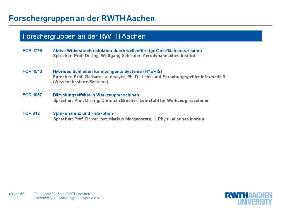Foliensatz 2015 der RWTH Aachen Dezernat 6.0 | Abteilung 6.3 | April 2015 Fußzeile anpassen: Zum Anpassen der Fußzeile unter Karteireiter Ansicht > auf Folienmaster klicken.