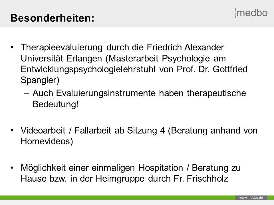 Besonderheiten: Therapieevaluierung durch die Friedrich Alexander Universität Erlangen (Masterarbeit Psychologie am Entwicklungspsychologielehrstuhl von Prof.