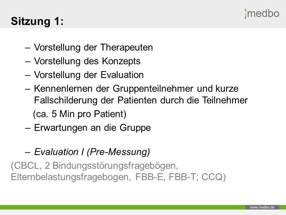 Sitzung 1: –Vorstellung der Therapeuten –Vorstellung des Konzepts –Vorstellung der Evaluation –Kennenlernen der Gruppenteilnehmer und kurze Fallschilderung der Patienten durch die Teilnehmer (ca.