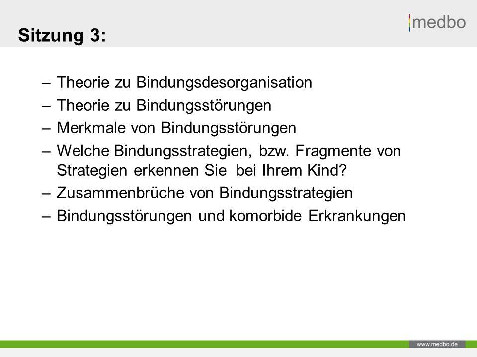 Sitzung 3: –Theorie zu Bindungsdesorganisation –Theorie zu Bindungsstörungen –Merkmale von Bindungsstörungen –Welche Bindungsstrategien, bzw.