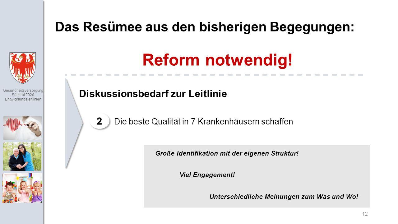 Gesundheitsversorgung Südtirol 2020 Entwicklungsleitlinien 12 Das Resümee aus den bisherigen Begegungen: Reform notwendig.