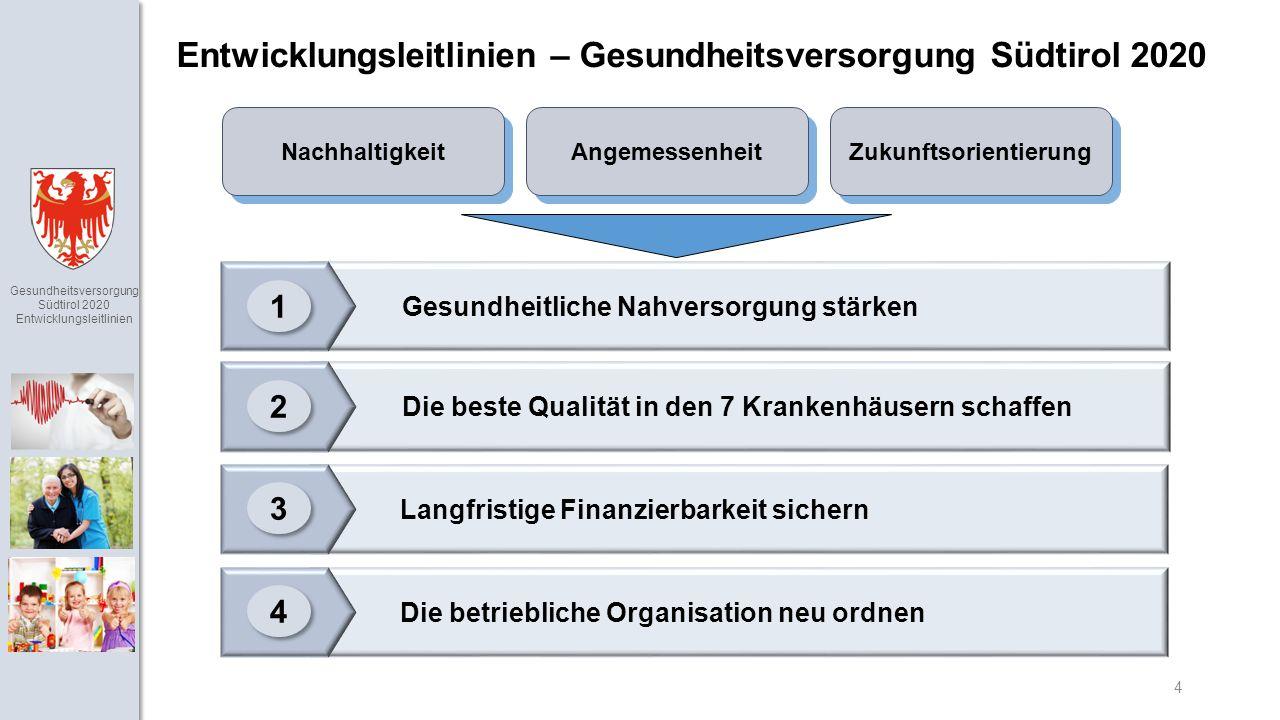 Gesundheitsversorgung Südtirol 2020 Entwicklungsleitlinien 4 Langfristige Finanzierbarkeit sichern Die beste Qualität in den 7 Krankenhäusern schaffen Gesundheitliche Nahversorgung stärken Entwicklungsleitlinien – Gesundheitsversorgung Südtirol 2020 1 1 2 2 3 3 Die betriebliche Organisation neu ordnen 4 4 Angemessenheit Zukunftsorientierung Nachhaltigkeit