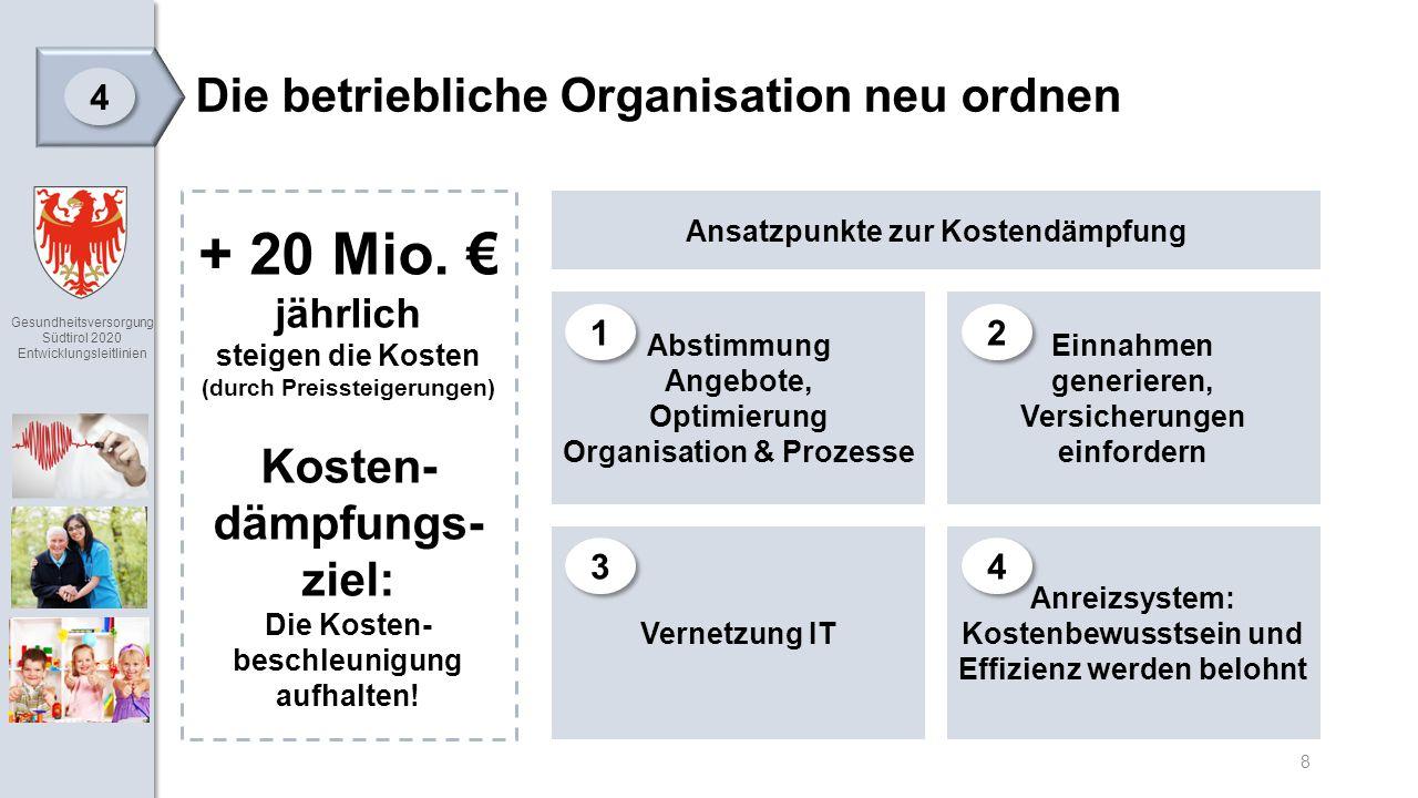 Gesundheitsversorgung Südtirol 2020 Entwicklungsleitlinien 8 Die betriebliche Organisation neu ordnen 4 4 + 20 Mio.