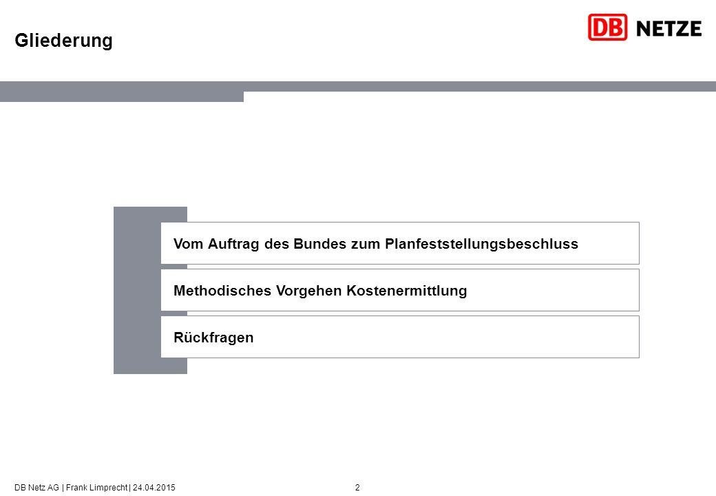 2 Gliederung DB Netz AG | Frank Limprecht | 24.04.2015 Vom Auftrag des Bundes zum Planfeststellungsbeschluss Methodisches Vorgehen Kostenermittlung Rückfragen