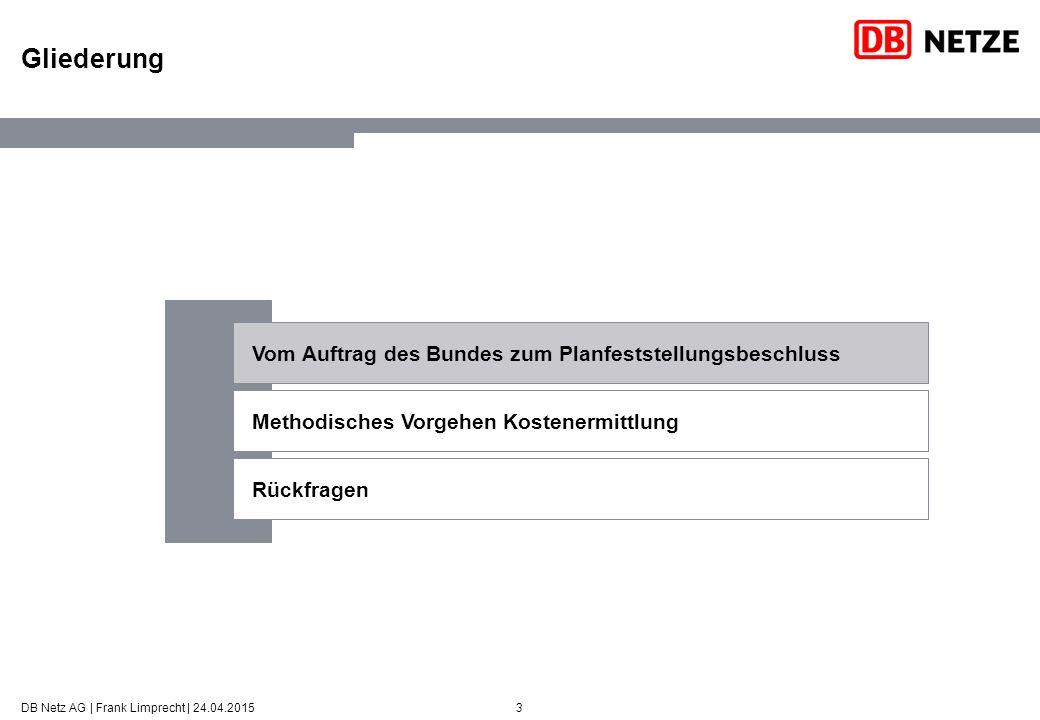 3 Gliederung DB Netz AG | Frank Limprecht | 24.04.2015 Vom Auftrag des Bundes zum Planfeststellungsbeschluss Methodisches Vorgehen Kostenermittlung Rückfragen