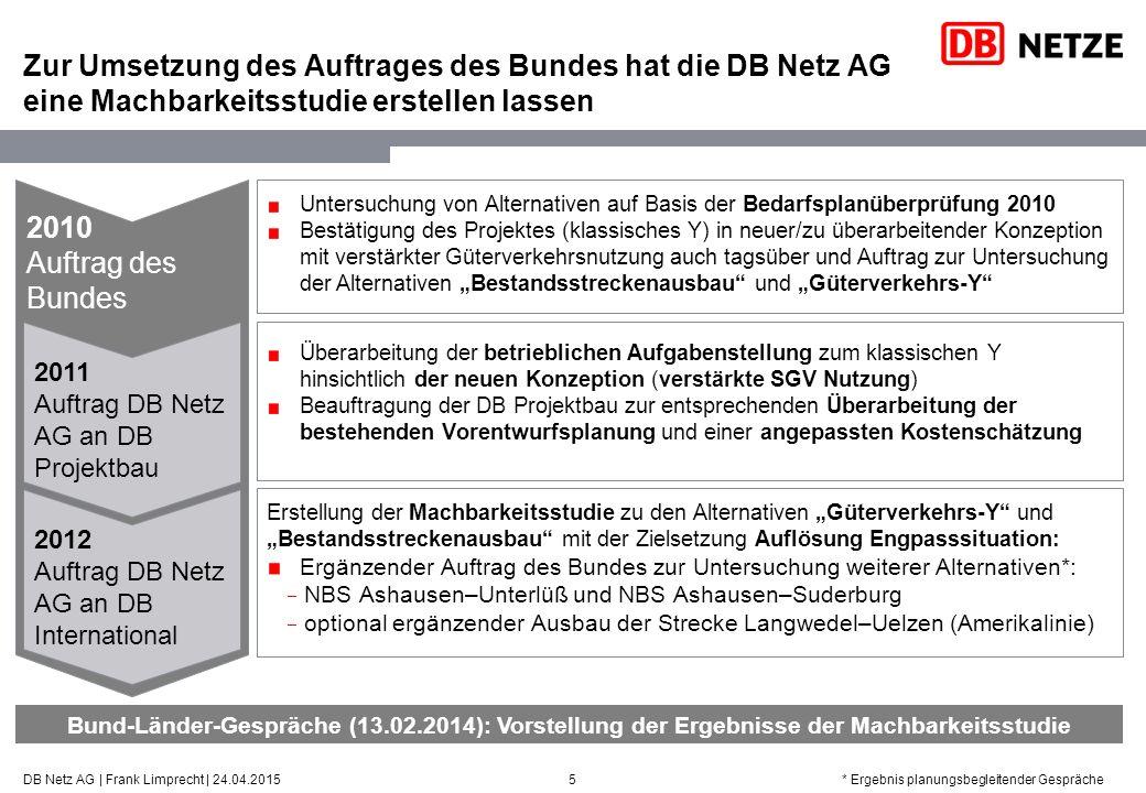 2010Auftrag desBundes Zur Umsetzung des Auftrages des Bundes hat die DB Netz AG eine Machbarkeitsstudie erstellen lassen 5DB Netz AG | Frank Limprecht