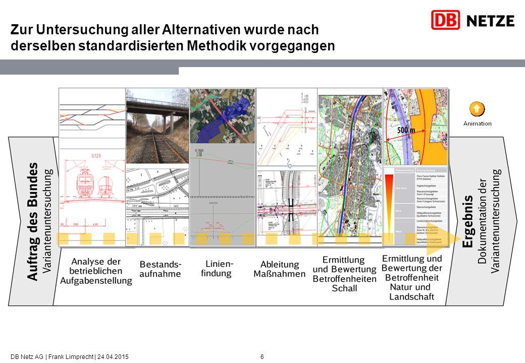 6 Zur Untersuchung aller Alternativen wurde nach derselben standardisierten Methodik vorgegangen DB Netz AG | Frank Limprecht | 24.04.2015
