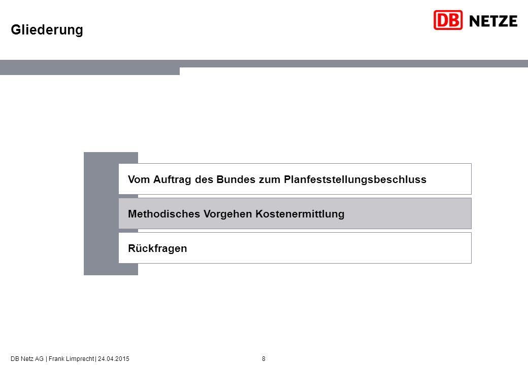 8 Gliederung DB Netz AG | Frank Limprecht | 24.04.2015 Vom Auftrag des Bundes zum Planfeststellungsbeschluss Methodisches Vorgehen Kostenermittlung Rückfragen