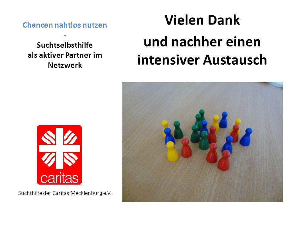 Chancen nahtlos nutzen - Suchtselbsthilfe als aktiver Partner im Netzwerk Vielen Dank und nachher einen intensiver Austausch Suchthilfe der Caritas Mecklenburg e.V.