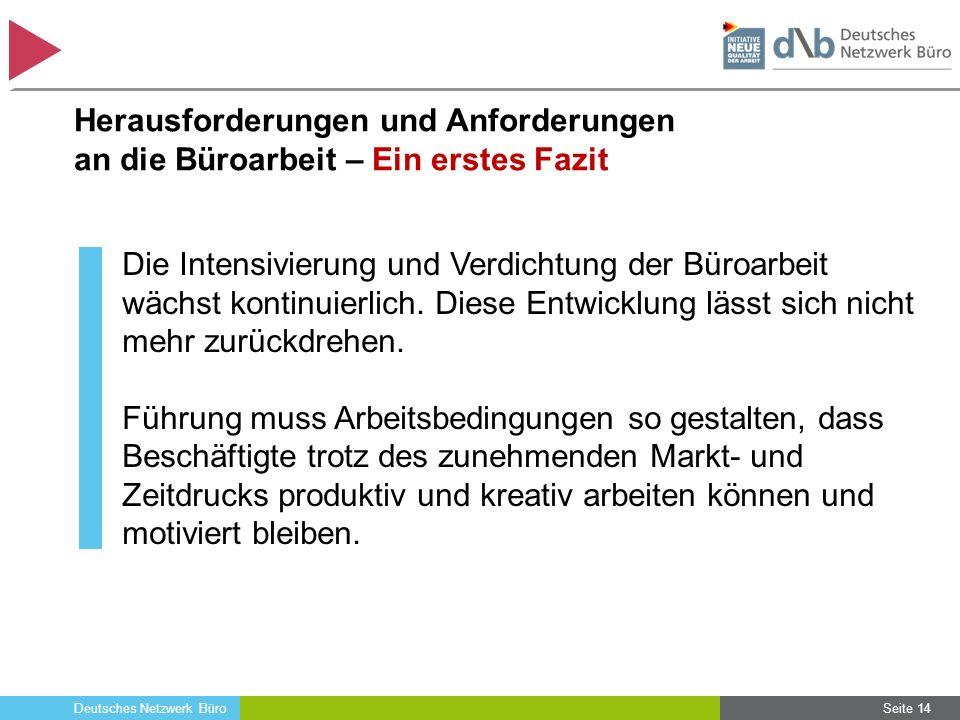 Deutsches Netzwerk Büro Herausforderungen und Anforderungen an die Büroarbeit – Ein erstes Fazit Die Intensivierung und Verdichtung der Büroarbeit wäc