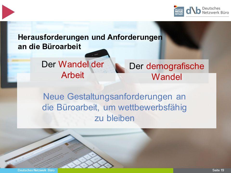 Deutsches Netzwerk Büro Seite 19 Herausforderungen und Anforderungen an die Büroarbeit Neue Gestaltungsanforderungen an die Büroarbeit, um wettbewerbs
